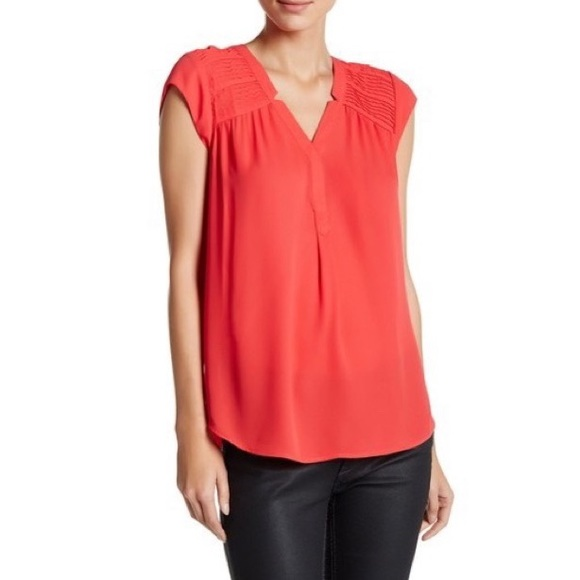 NWT DR2 Pleated Shoulder Blouse in Coral Red